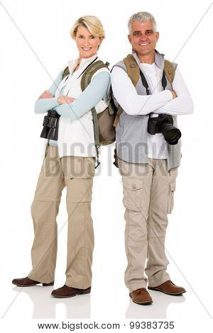 cute middle aged couple tourists posing isolated on white