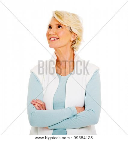 happy middle aged woman looking up on white background