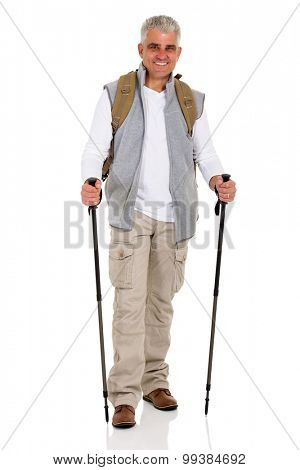 happy senior man with backpack and hiking poles