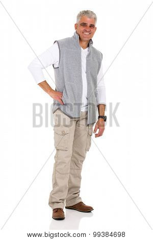 handsome middle aged man in casual clothes isolated on white
