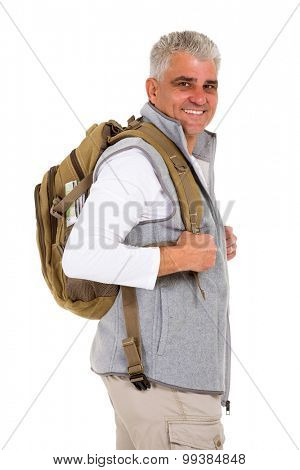 happy middle aged tourist looking back isolated on white