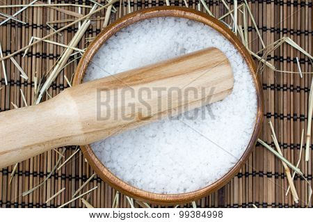 Sea Salt In Wooden Bowl For Cooking Or Spa