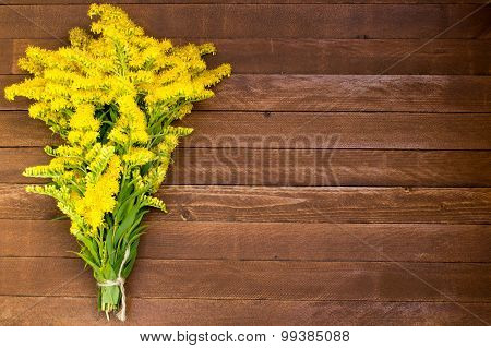 Yellow Flowers On Wooden Background, Copy Space