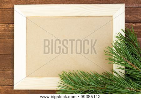 Empty Picture Frame On Wooden Background