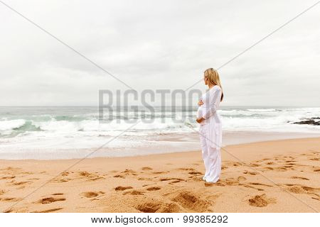 healthy pregnant woman looking at the sea