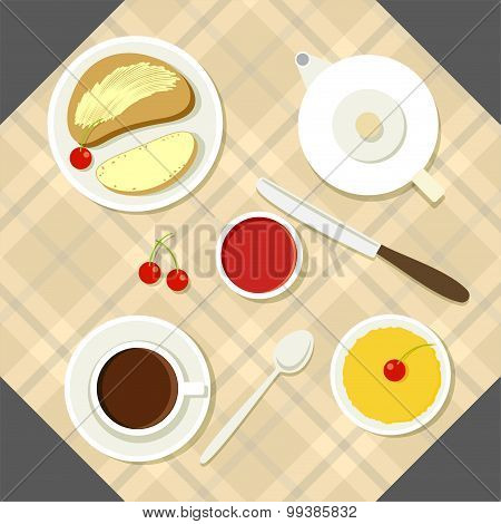 Vector breakfast illustration with fresh food and drinks in flat style.