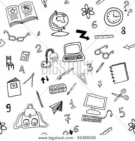Doodle seamless pattern of classroom objects