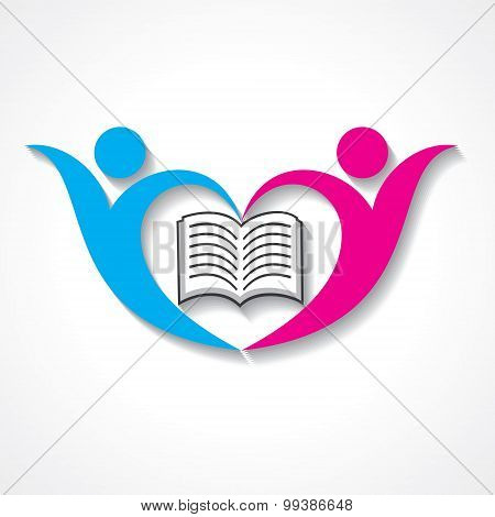 happy students with book icon. educational symbol stock vector