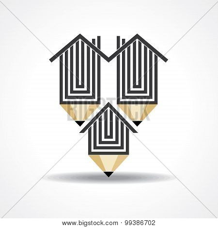 home with pencil education concept stock vector