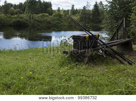 Fishing equipment on a bench