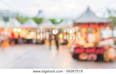 Blur Image Of Food Store In Day Festival .