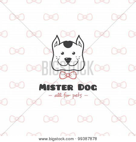 Vector cartoon style pet shop logo. Hand drawn doodle dog head logotype.