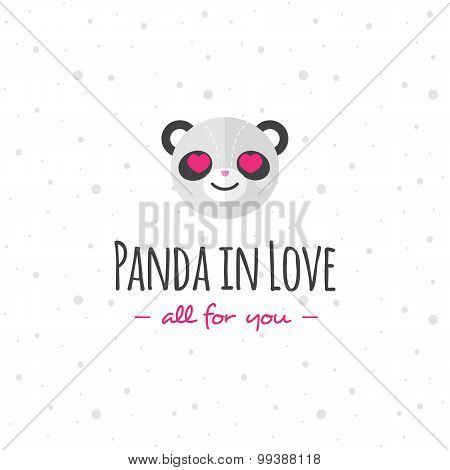 Vector funny cartoon panda head logo. Flat logotype.