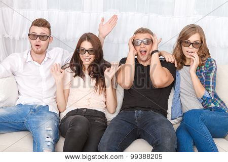 Emotional friends watching film