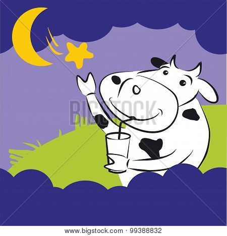 Vector Cow With Star at Night