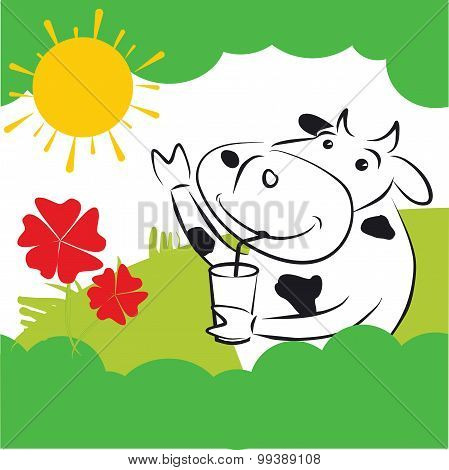 Vector Cow With Red Flowers