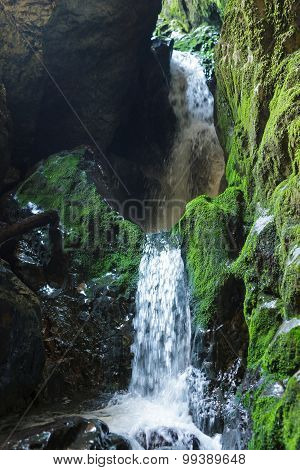 Underground River And Waterfall In Romania