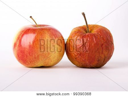 Two apples, young and old as a metaphor for aging