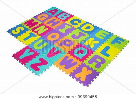 Alphabet puzzle isolated on white background with clipping path