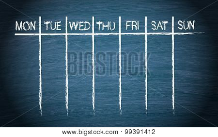 Weekly Calendar On Blue Chalkboard