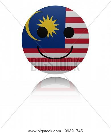 Malaysia happy icon with reflection illustration