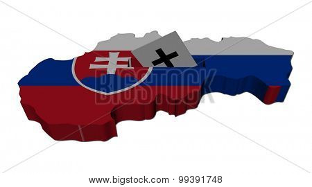 Slovakia election map with ballot paper illustration