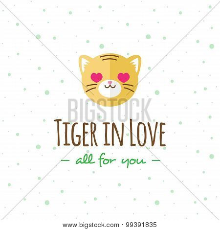 Vector cartoon tiger head logo. Flat logotype.