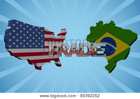 American and Brazilian map flags with trade text illustration