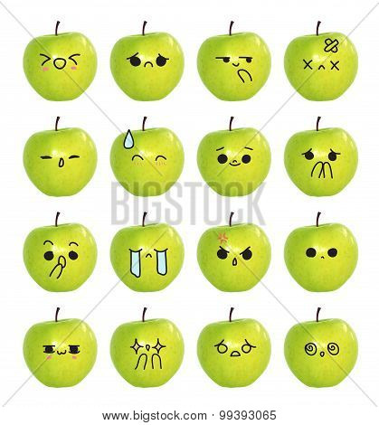 emoticon cute face - The green apple isolate on white background