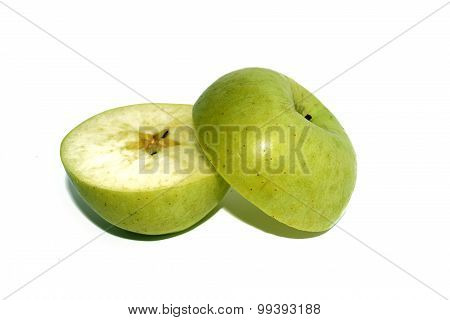 The Green apple Through half isolate on white background