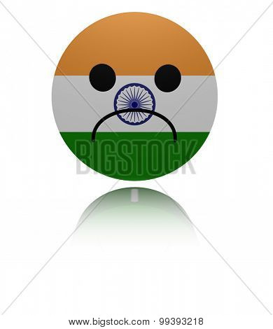 India sad icon with reflection illustration