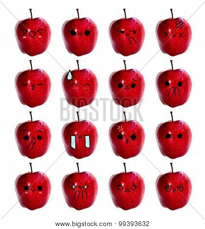 emoticon cute face - The Red apple isolate on white background