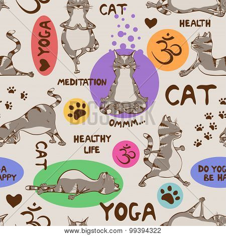 Seamless Pattern With Cat Doing Yoga Position.