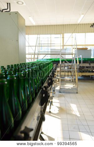 Many bottles on conveyor belt