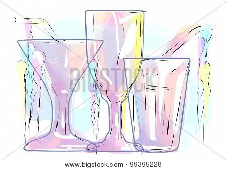 Abstract Multicolored Cocktail