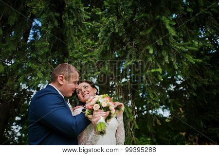 Lovely Newlywed At Nature Park Square