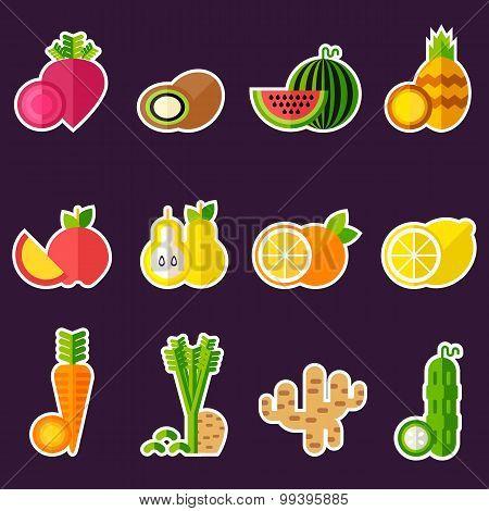 Set Of Organic Food Inlines