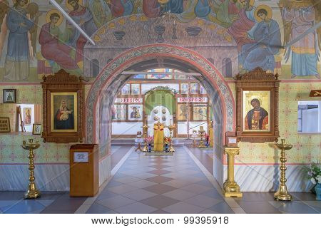 Archway To Iconostasis And Altar Through Halls Of Worship In Church