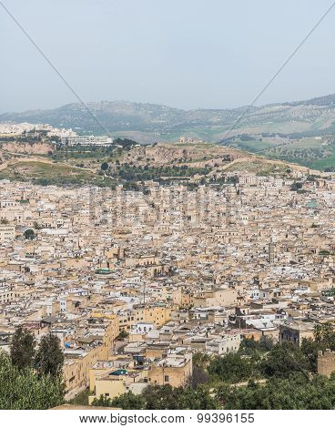 The Aerial View Of Fes City Town In Morocco
