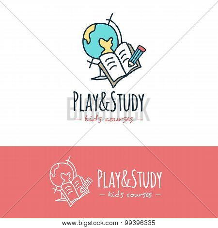 Vector cartoon style education logo. Hand drawn study doodle logotype.