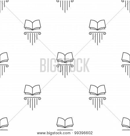 Vector line style open book on greek column seamless pattern