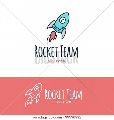 Vector cartoon style rocket logo. Hand drawn doodle start up logotype.