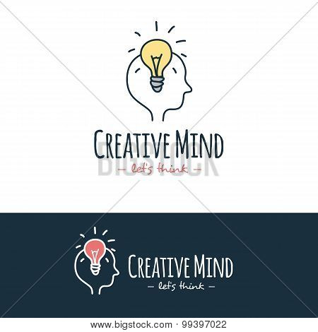 Vector cartoon style brain training logo. Hand drawn doodle logotype.