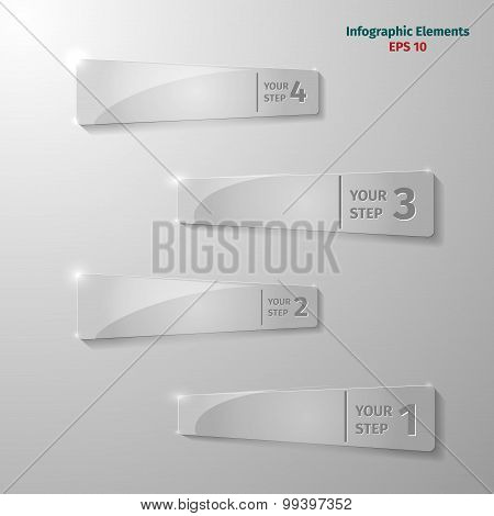 Glass Rectangle Elements For Infographic