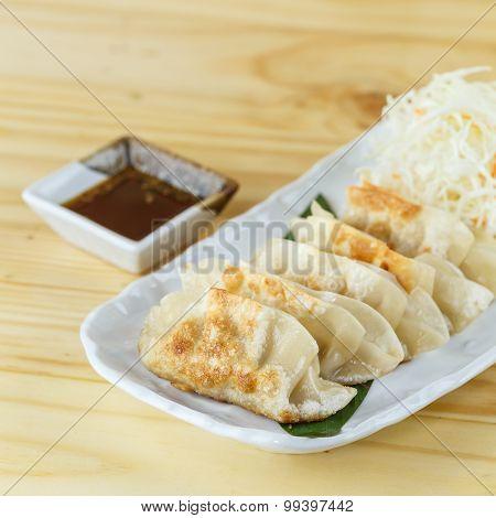 Traditional Japanese Food, Fried Dumpling Or Gyoza