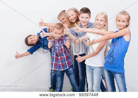 The smiling teenagers showing okay sign on white