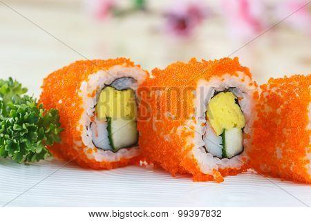 Traditional Japanese Food, California Maki Sushi