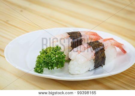 Traditional Japanese Food, Ebi Nigiri (shrimp)