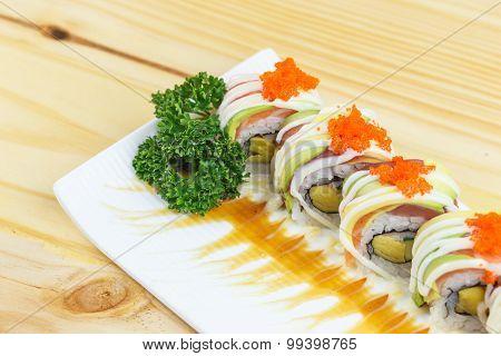 Traditional Japanese Food, Salmon Sushi Roll Maki