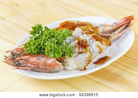 Traditional Japanese Food, Grilled King Tiger Prawn